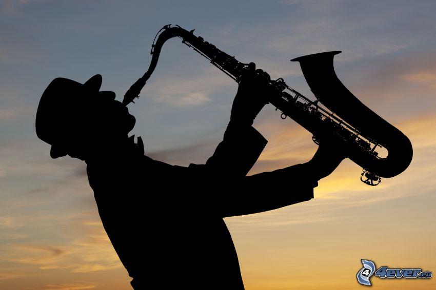 saksofonista, saksofon, sylwetka