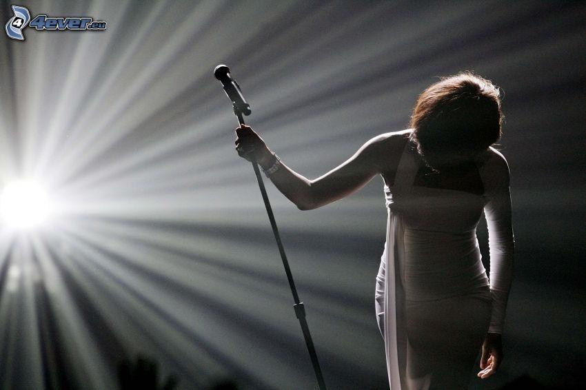 Whitney Houston, piosenkarka, światło, mikrofon