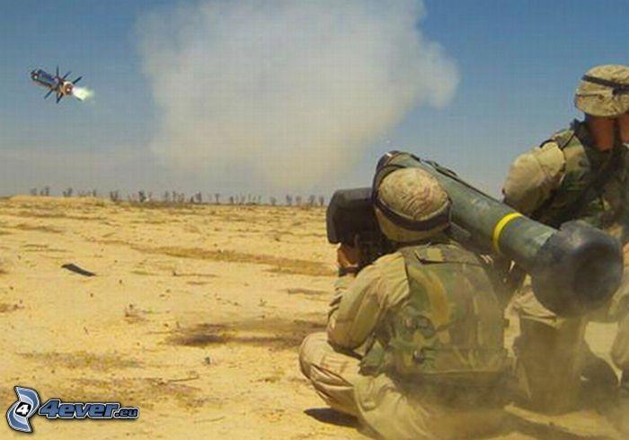 pocisk rakietowy, strzał, żołnierze, wojsko, pustynia