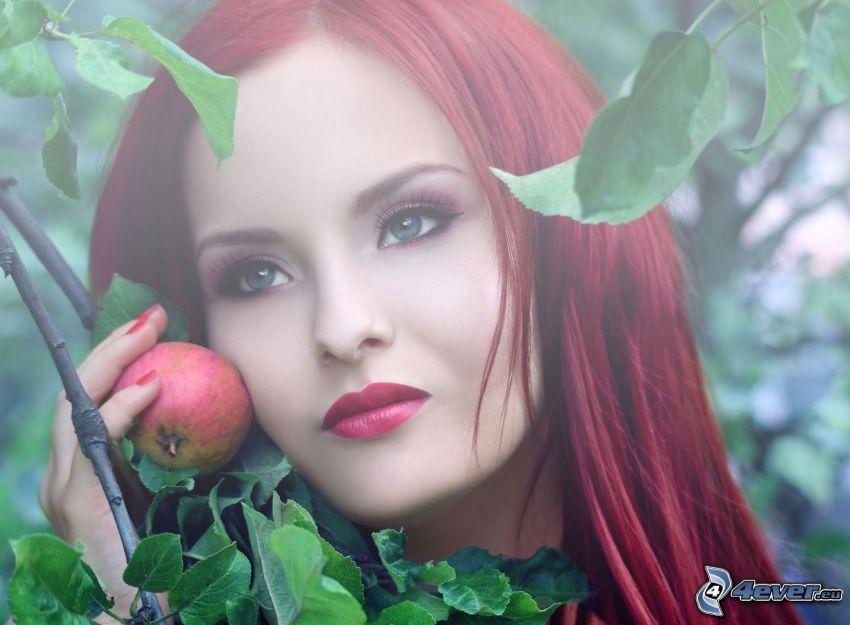 rudowłosa, jabłko, liście