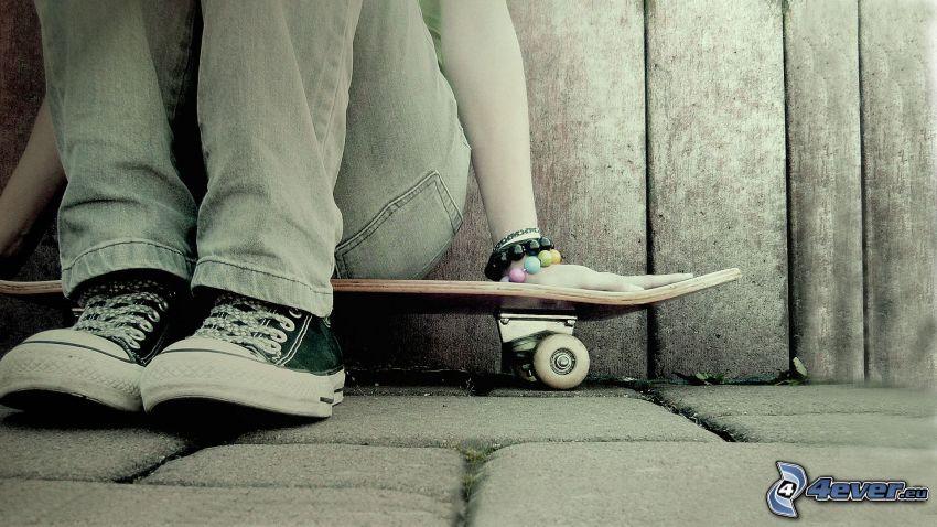 skateboard, dziewczyna