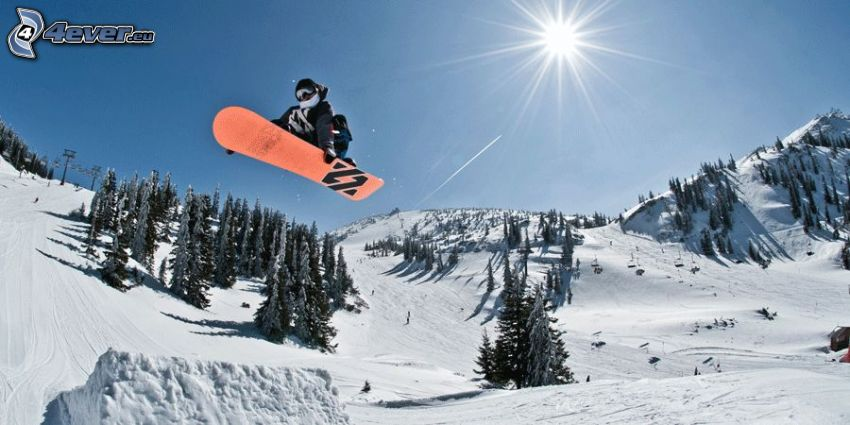snowboardzista, skok snowboardowy, wzgórza, drzewa, śnieg, słońce