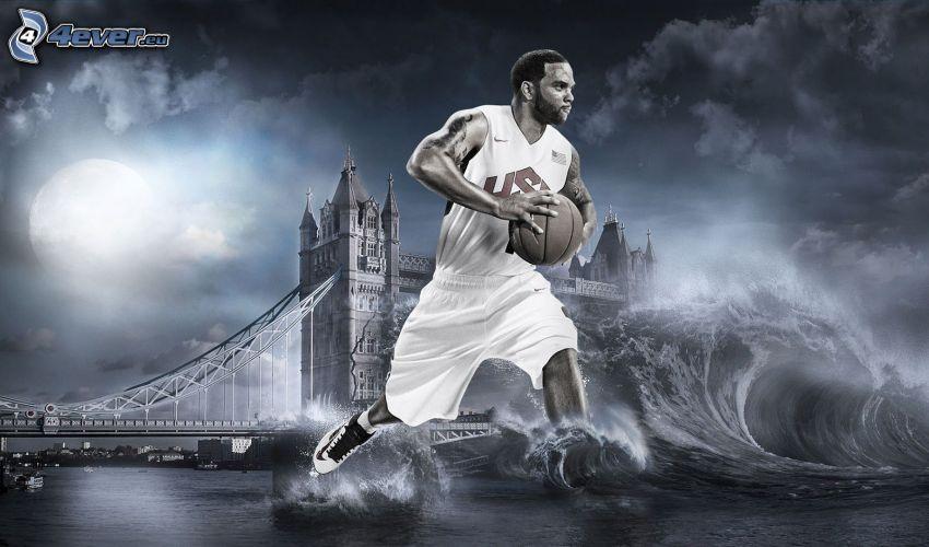 Deron Williams, koszykarz, fala, Tower Bridge, sztuka cyfrowa