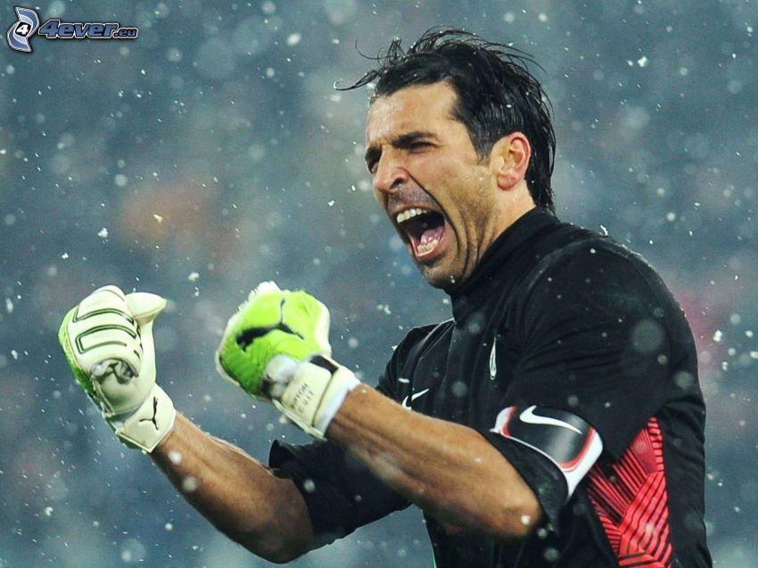 Gianluigi Buffon, piłkarz, radość, krzyk