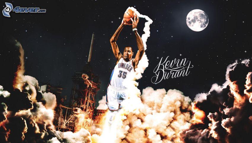 Kevin Durant, koszykarz, piłka, księżyc, dym