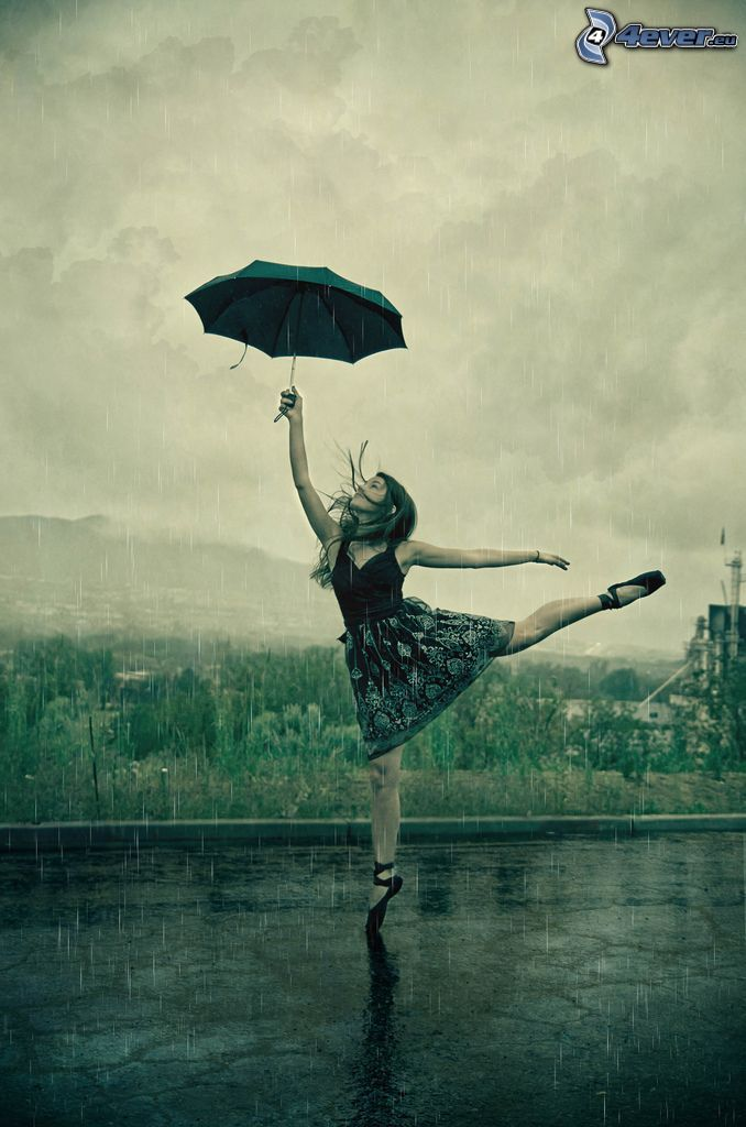 taniec w deszczu, baletnica, parasol
