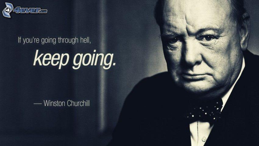 Winston Churchill, cytat, czarno-białe zdjęcie