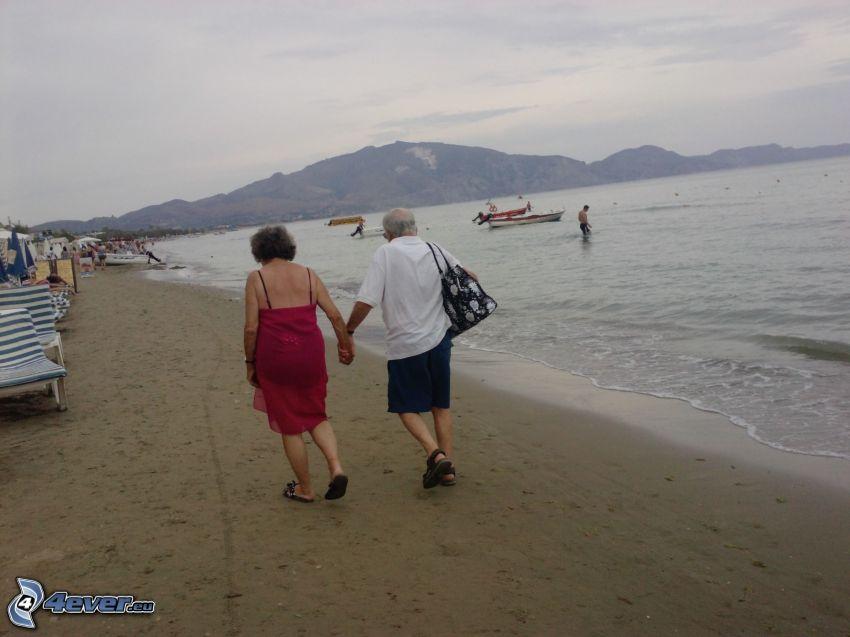 Zakynthos, plaża, morze, wzgórza, miłość, dziadek i babcia