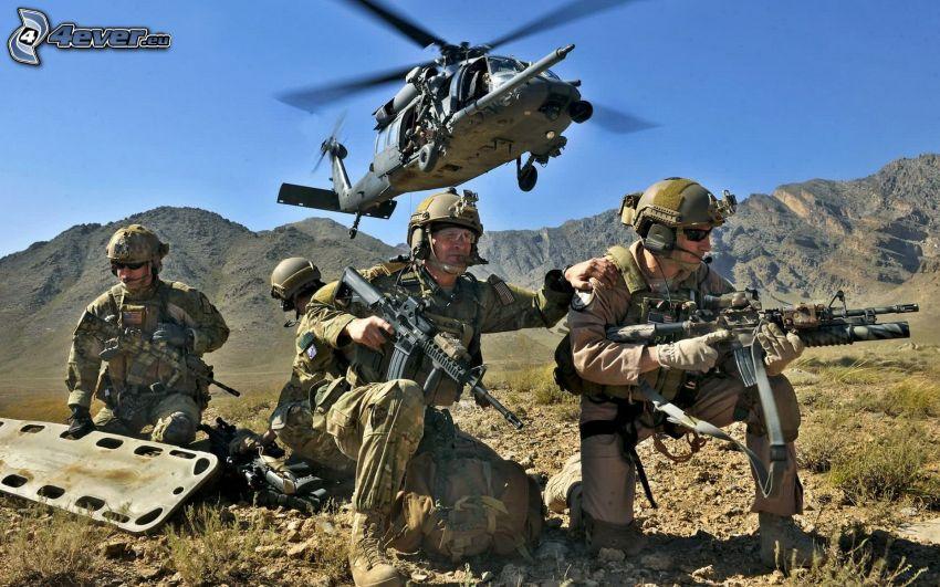 żołnierze, Afganistan, broń, wojskowy śmigłowiec