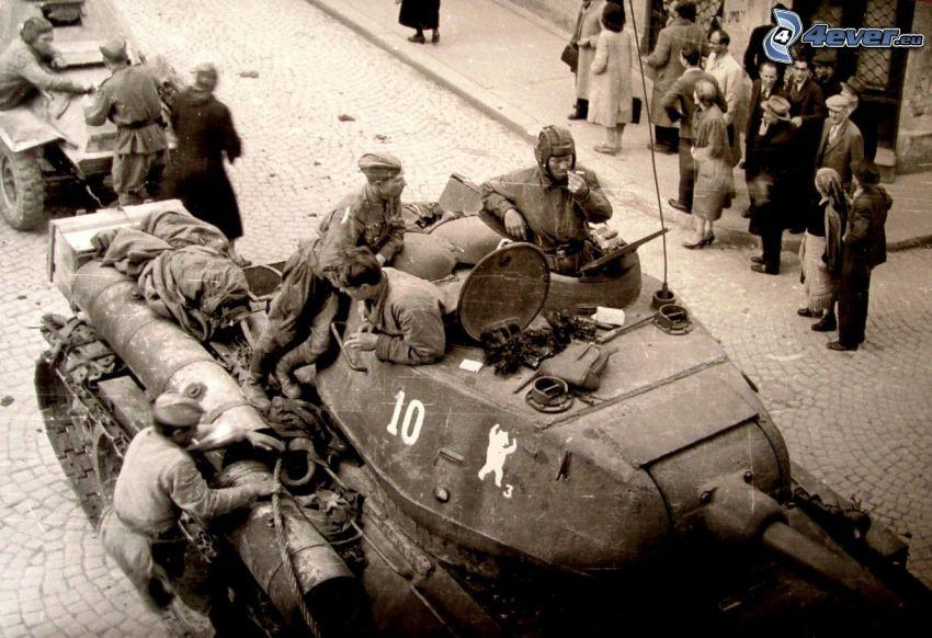 żołnierze, czołg, sepia, stare zdjęcie