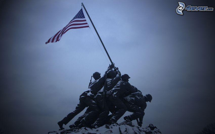 żołnierze, flaga Ameryki