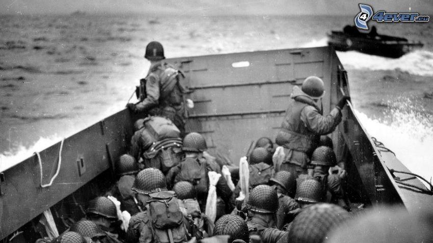 żołnierze, morze, statek, przystanie łodzi, stare zdjęcie