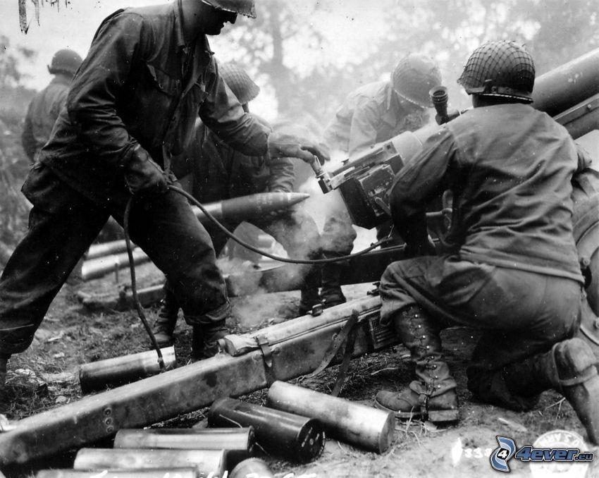 żołnierze, wojna, stare zdjęcie, strzelanie