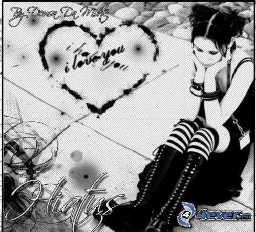emo dziewczyna, samotność, serduszko, I love you