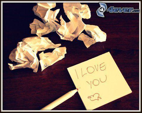 I love you, miłość, papier, wiadomość