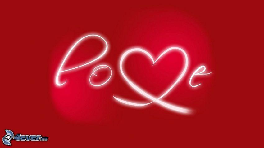 love, białe linie, czerwone tło