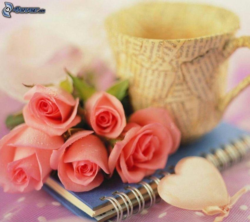 love, różowe róże, kubek