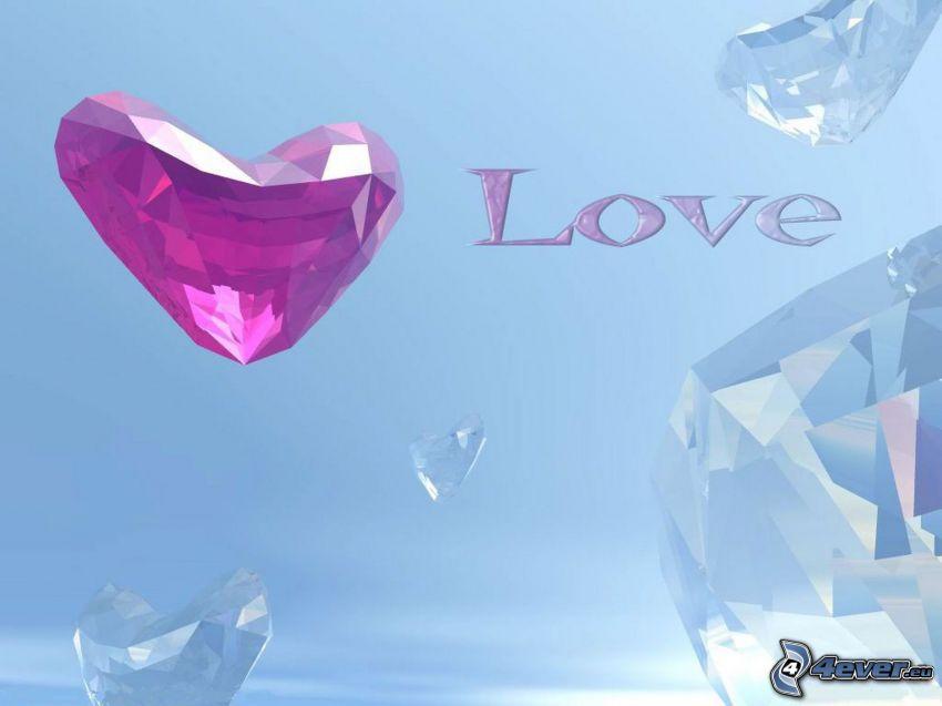 love, serduszko, diamenty, niebieskie tło