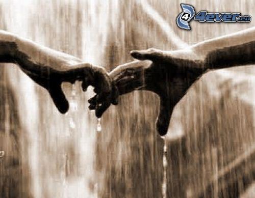 dotyk, ręce, deszcz