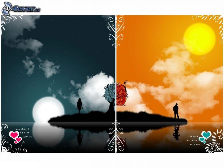 dzień i noc, wyspa, para