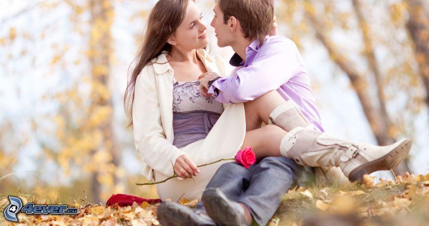 para, pocałunek, czerwona róża