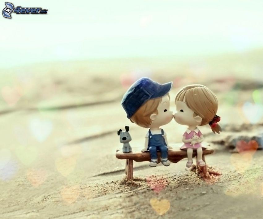 para, pocałunek, dzieci, pies, figurki