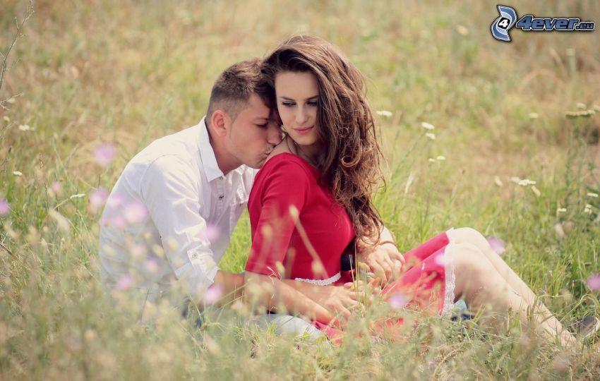 para, pocałunek, łąka