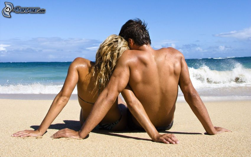 para przy morzu, miłość, lato