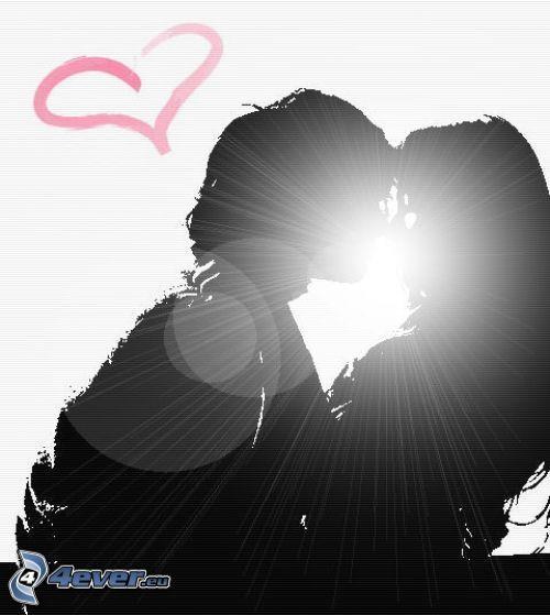 pocałunek, poświata, serduszko, para, miłość, objęcie