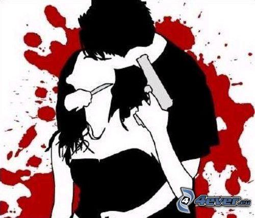 przemoc, para emo, krew, nóż, pistolet