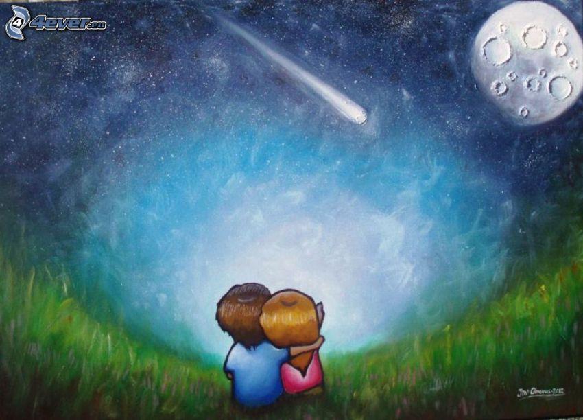 rysowana para, księżyc, niebo w nocy