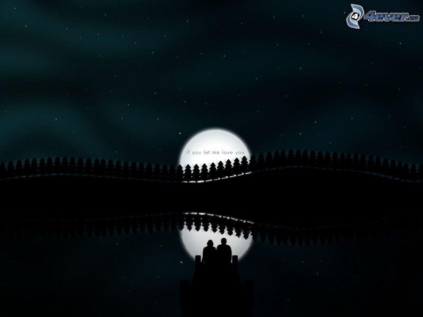 sylwetka kobiety i mężczyzny, księżyc, sylwetki drzew, text, gwiaździste niebo