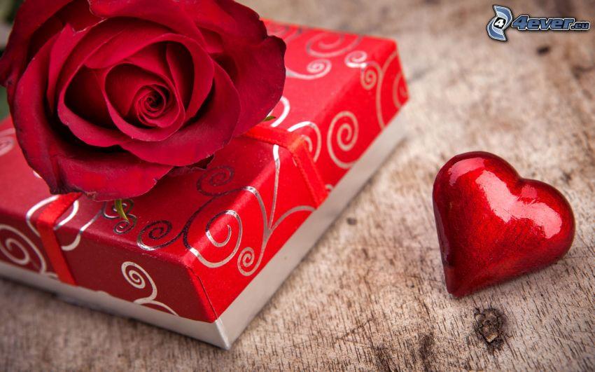 prezent, czerwona róża, serce