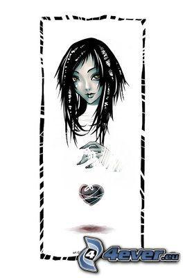 rysowana dziewczynka, serduszko