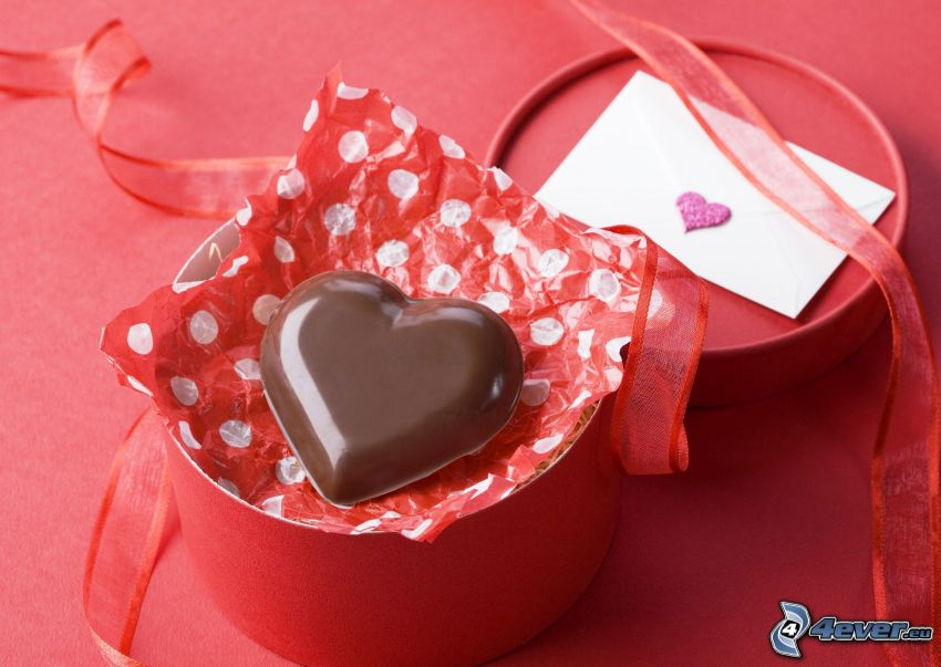 czekoladowe serca, pudełko