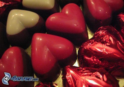 czekoladowe serduszka, cukierki