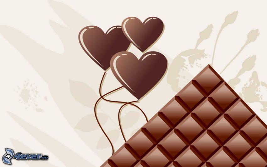 czekoladowe serduszka, czekolada