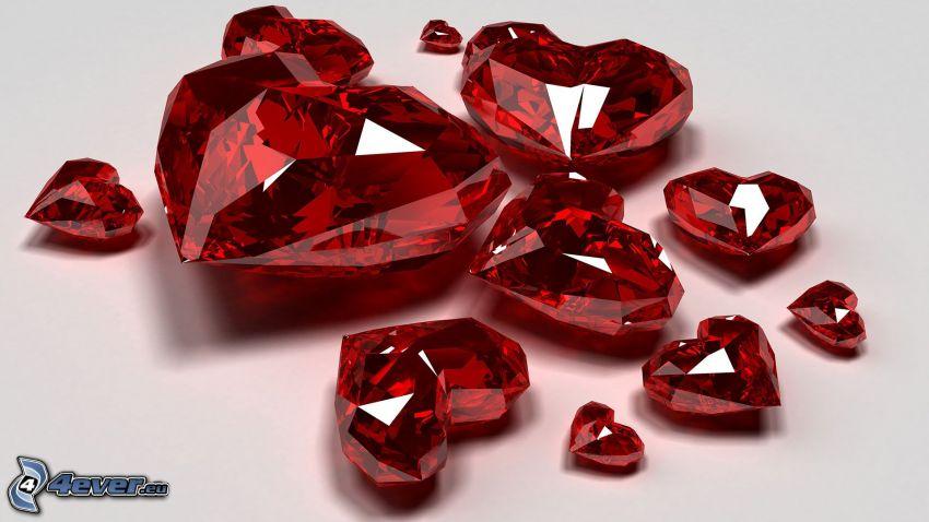 diamenty, czerwone serduszka