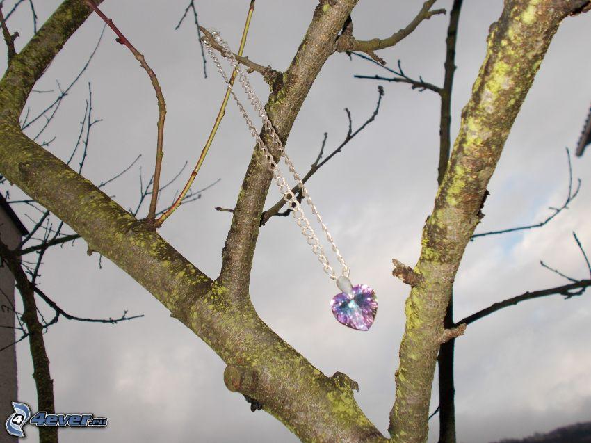 drzewo, wisiorek, serduszko