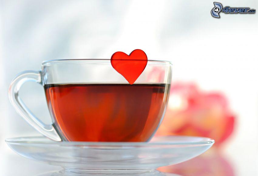 filiżanka herbaty, serduszko