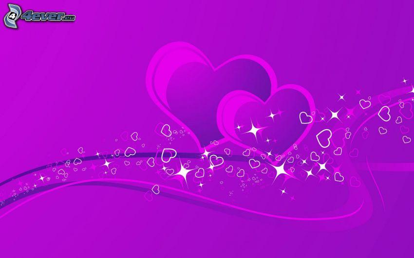 fioletowe serduszka, fioletowe linie, fioletowe tło