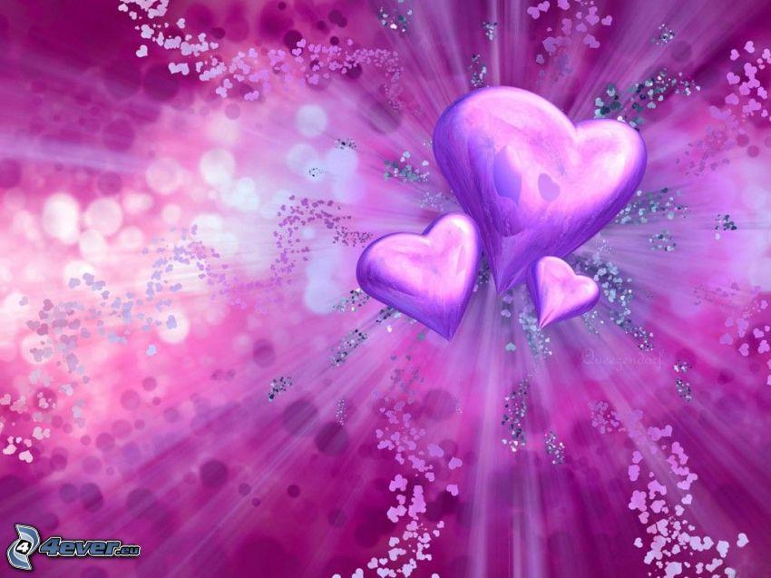 fioletowe serduszka, sztuka cyfrowa