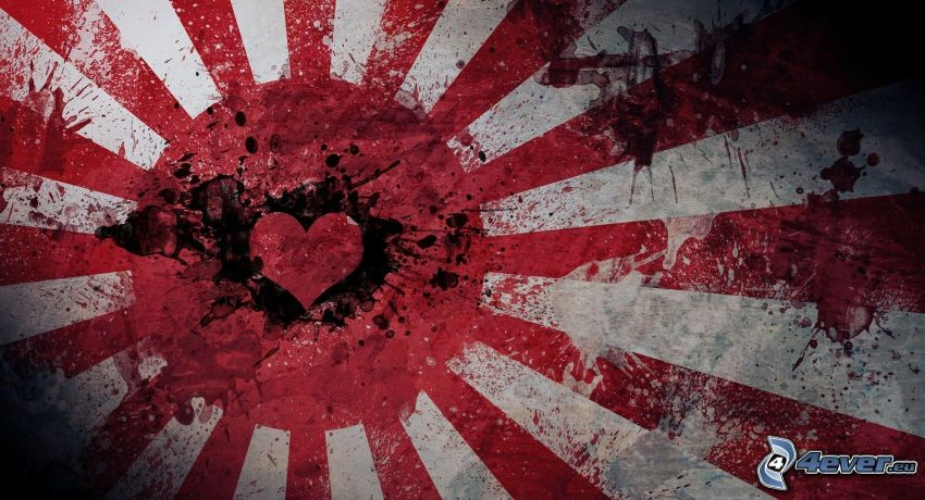 japońska flaga, serduszko, kleksy, paski