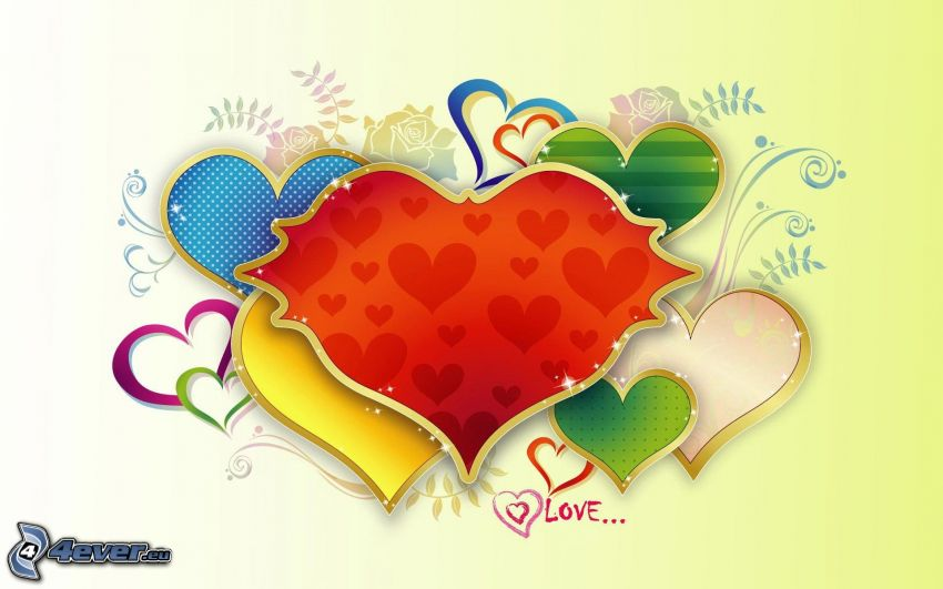 kolorowe serduszka, love
