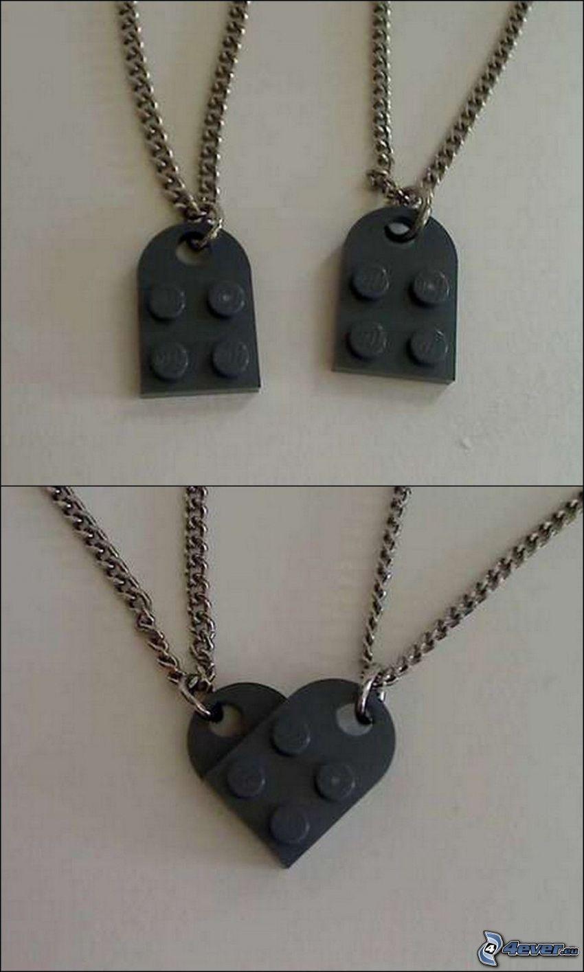naszyjniki, Lego, serduszko
