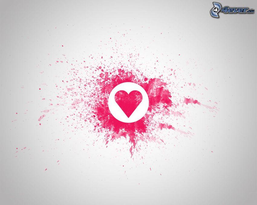 różowe serce, kleks, białe tło