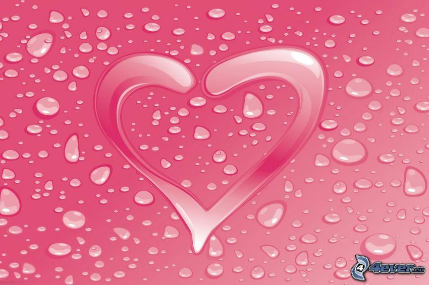 różowe serce, krople wody
