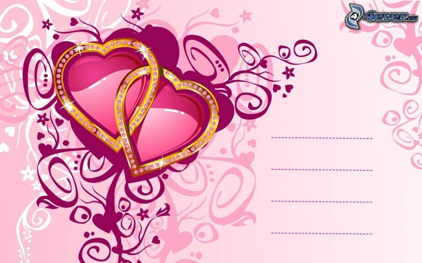 różowe serduszka, pocztówka