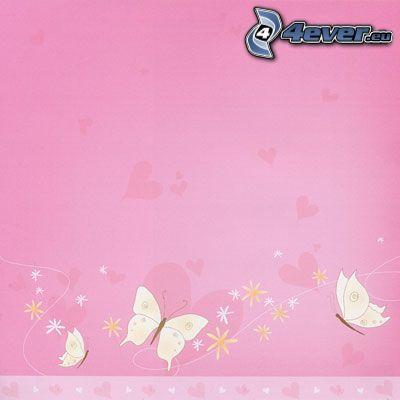 różowe tło, Motyle, serduszka