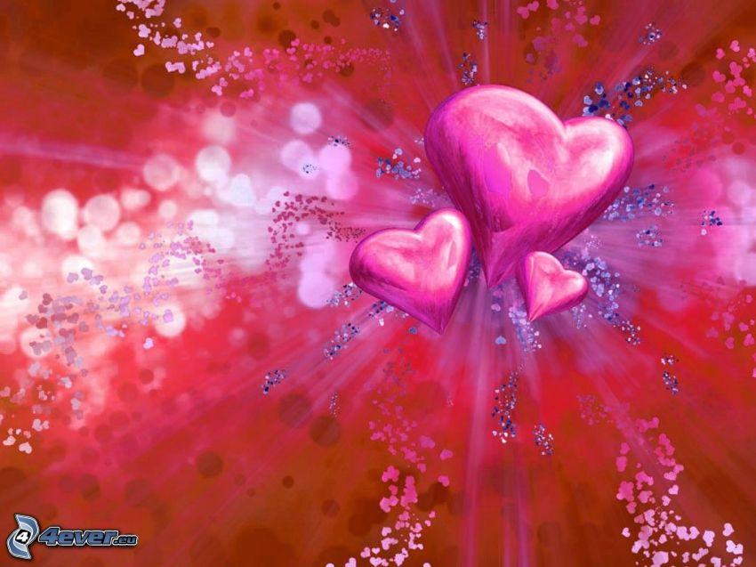 rysunkowe serca, miłość